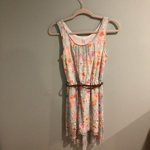 Hi-low floral print dress with belt. Size Small.